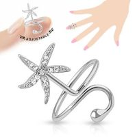Toe ring star with crystal silver brass unisex