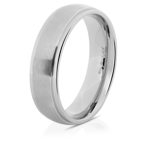 Ring with two outer rings silver made of stainless steel unisex