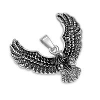 Pendant flying eagle silver made of stainless steel unisex