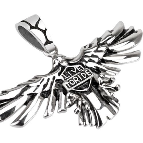 Pendant eagle with Live to Ride silver made of stainless steel unisex
