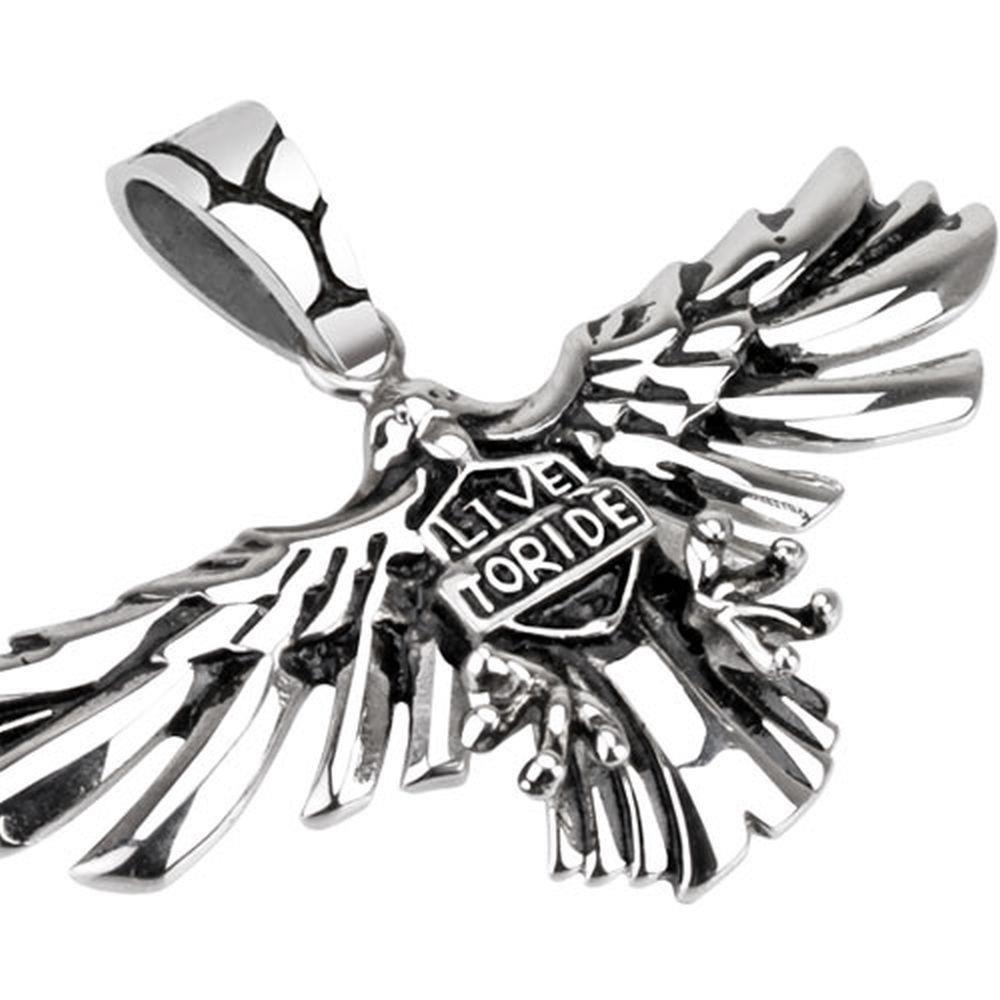 Anhänger Adler mit Live to Ride Silber aus Edelstahl Unisex