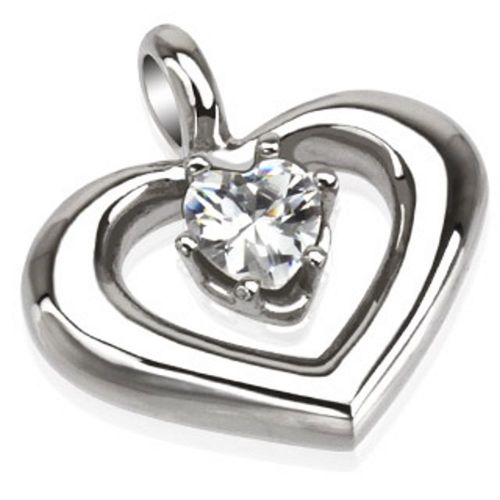 Pendant heart with crystal silver made of stainless steel unisex