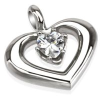 Pendant heart with crystal silver made of stainless steel...