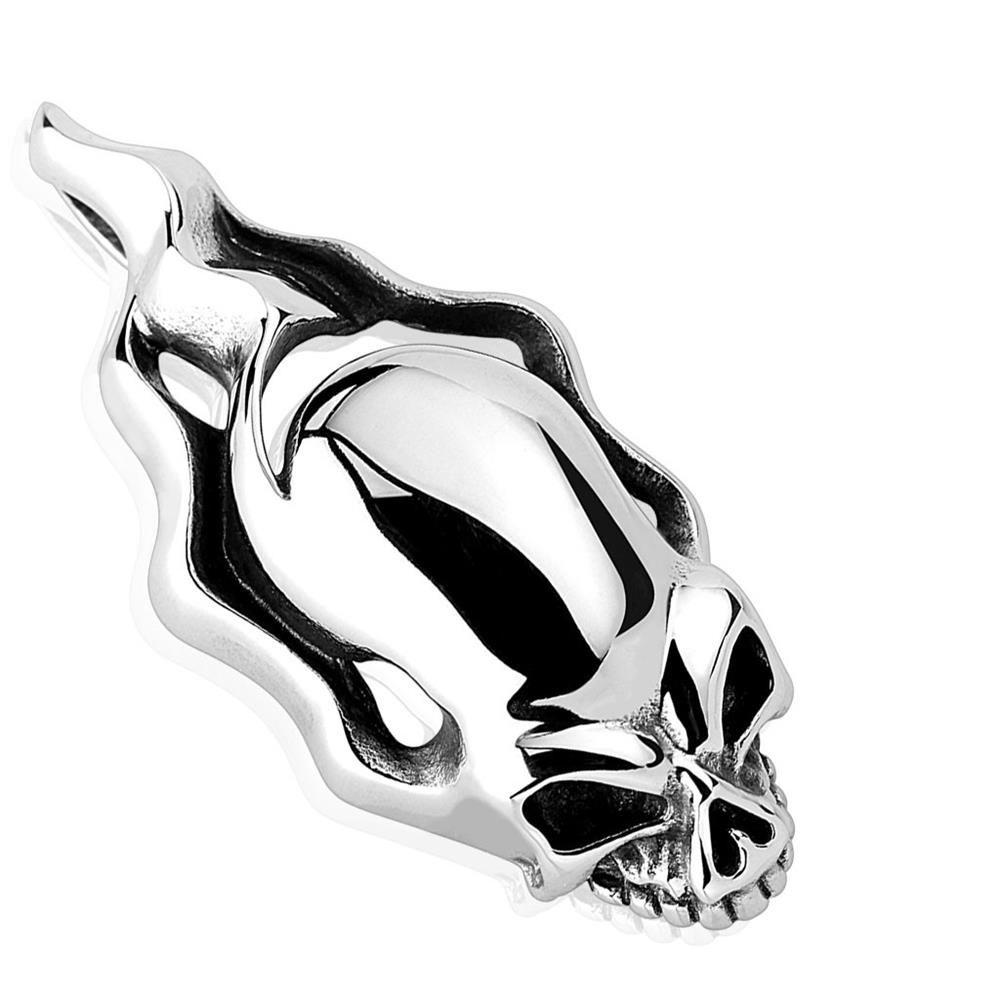 Anhänger Flammender Skull Silber aus Edelstahl Unisex
