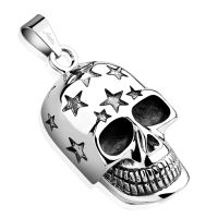 Pendant laughing skull silver made of stainless steel unisex