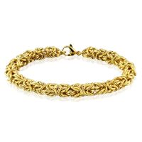 Bracelet with interwoven links gold made of stainless steel unisex