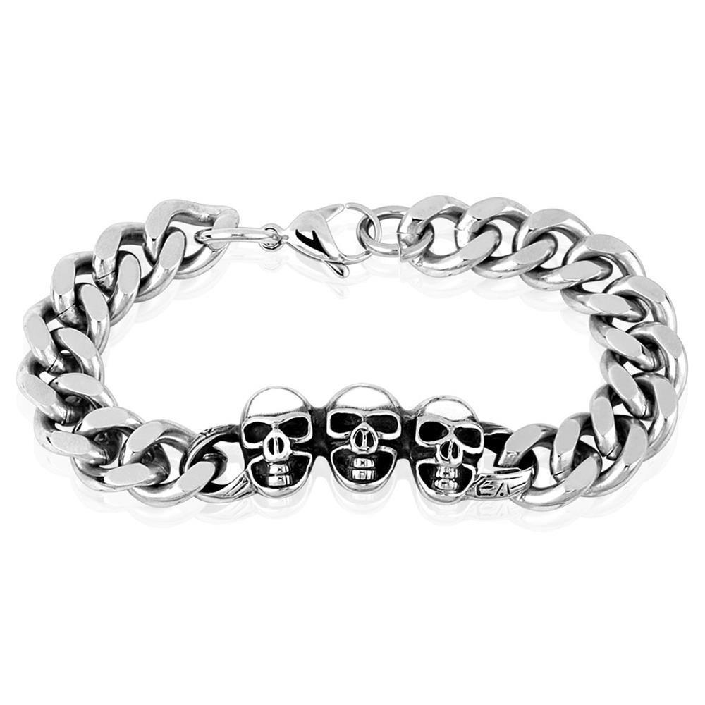 Armband Totenkopf massiv Silber aus Edelstahl Herren