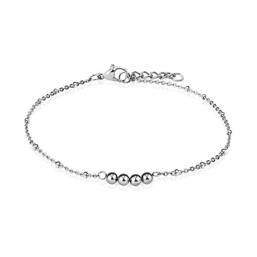 Charm bracelet four beads silver stainless steel ladies