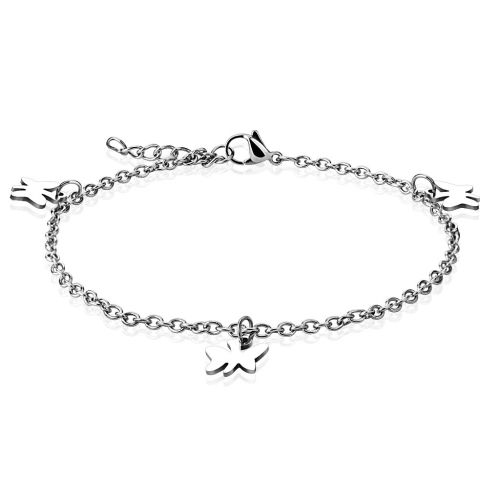 Charm bracelet butterfly silver made of stainless steel ladies