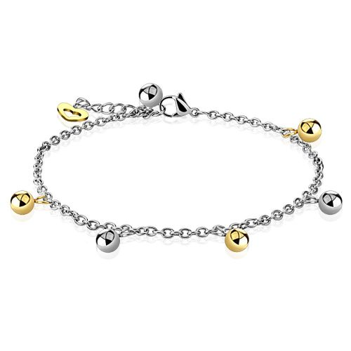 Charm bracelet with ball beads silver made of stainless steel women