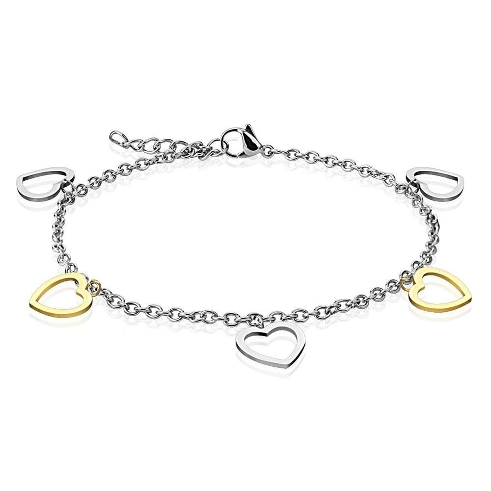 Bettelarmband Herzen Silber aus Edelstahl Damen
