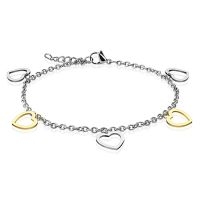 Charm bracelet hearts silver made of stainless steel ladies