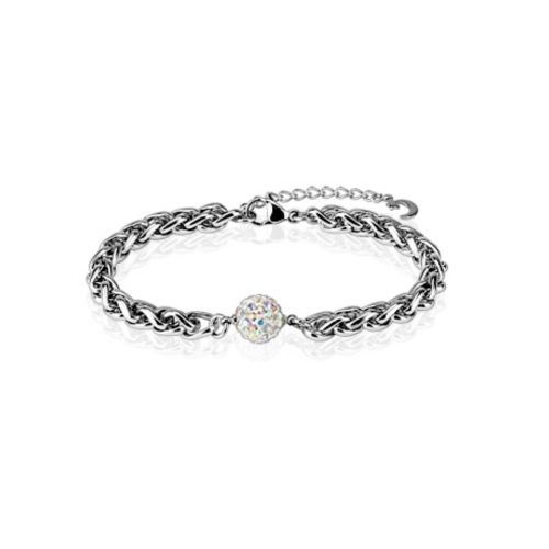 Bracelet with Ferido crystal silver made of stainless steel unisex