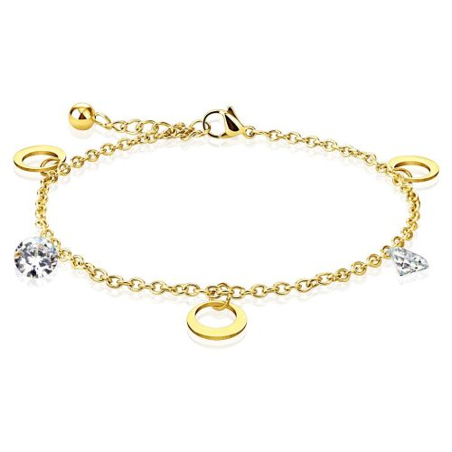 Charm bracelet moon & crystal gold made of stainless steel women