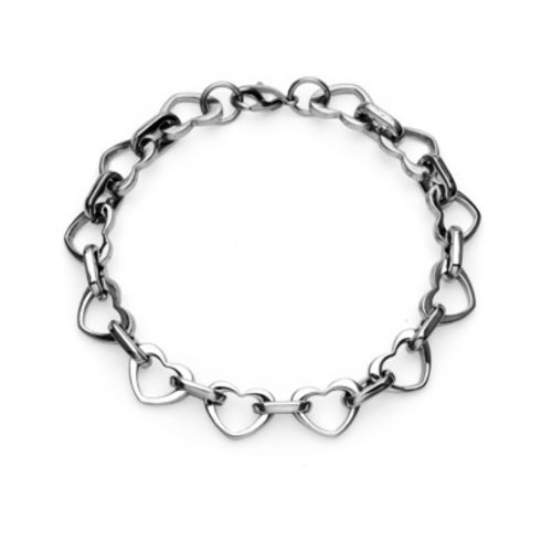 Bracelet heart connected silver stainless steel ladies