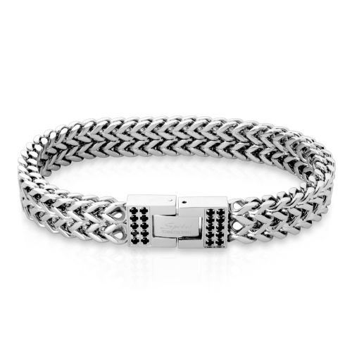 Bracelet with plate & crystal silver made of stainless steel unisex