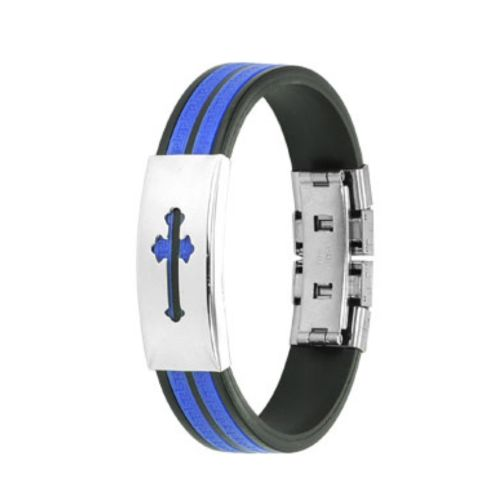 Medieval cross bracelet black-blue made of rubber unisex