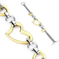 Bracelet three hearts silver stainless steel ladies