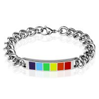 Rainbow silver bracelet made of stainless steel unisex
