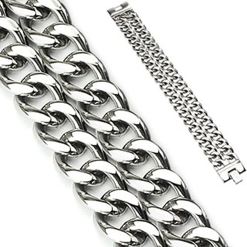 Bracelet double row silver made of stainless steel unisex