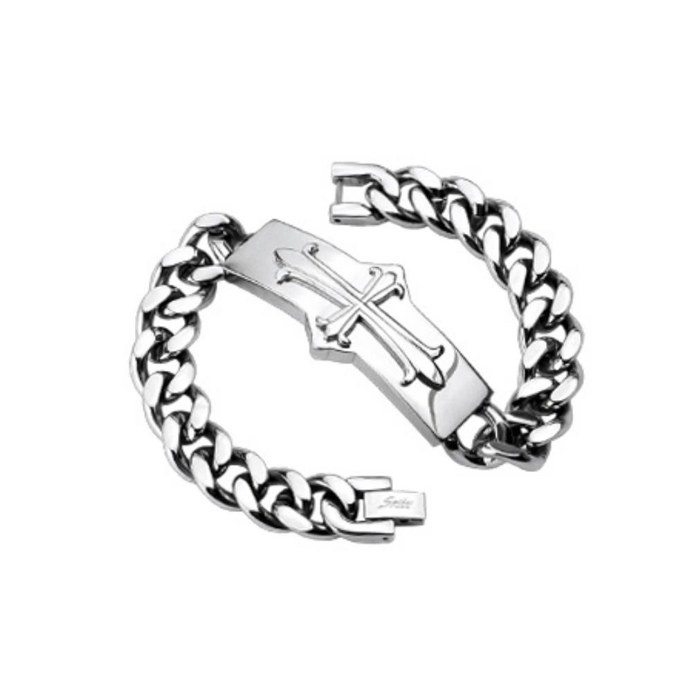 Armband Kreuz massiv Silber aus Edelstahl Unisex