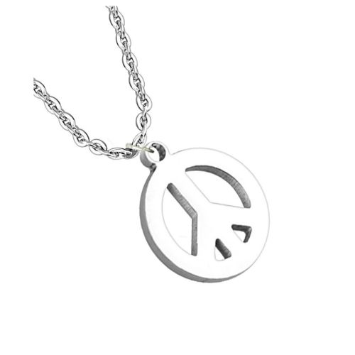 Necklace peace silver made of stainless steel unisex