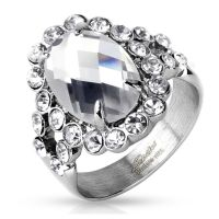 Ring large crystal silver made of stainless steel women