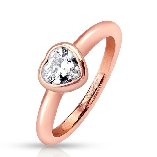 Ring crystal rose gold made of stainless steel women