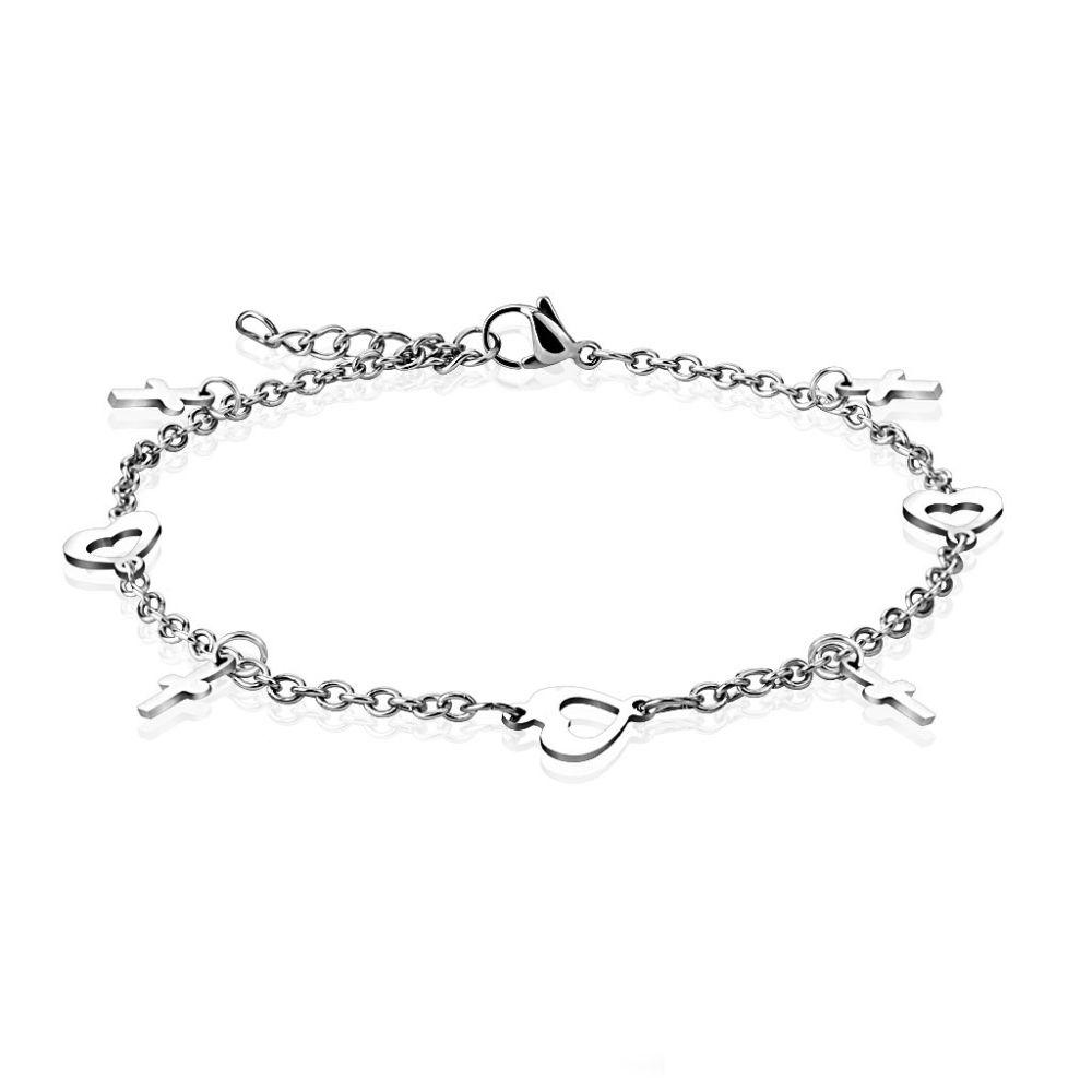 Bettelarmband Herz & Kreuz Silber aus Edelstahl Damen