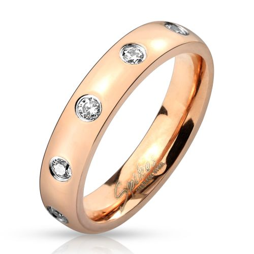Ring with crystal-set rose gold made of stainless steel for women