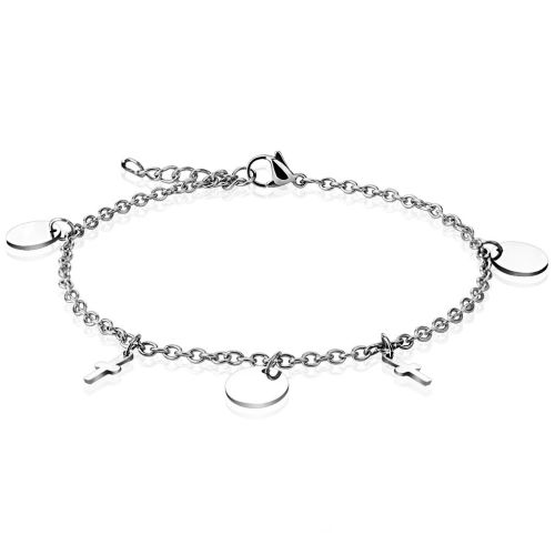 Charm bracelet circle & cross silver made of stainless steel women
