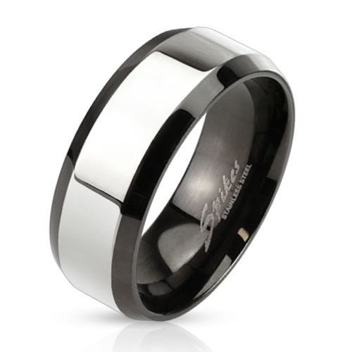 70 (22.3) black ring with silver middle part for men (ring finger ring men ring stainless steel ring surgical steel partner rings engagement rings women women ring)