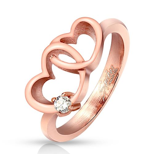 52 (16.6) Rose gold ring with connected hearts and crystal for women (ring finger ring partner rings engagement rings wedding rings women ring stainless steel ring surgical steel)