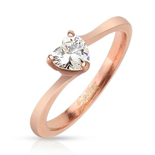49 (15.6) rose gold ring with a set crystal heart shape for women rose gold rose (ring finger ring partner rings engagement rings wedding rings women ring stainless steel ring surgical steel)
