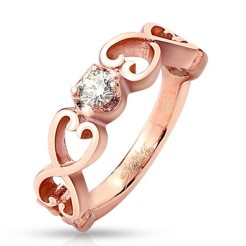 57 (18.1) ring 6 hearts with crystal stone rose gold rose gold for ladies vintage (ring finger ring partner rings engagement rings wedding rings ladies ring stainless steel ring surgical steel)