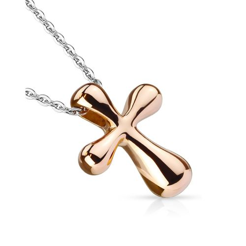 Rose gold chain with cross in stainless steel women