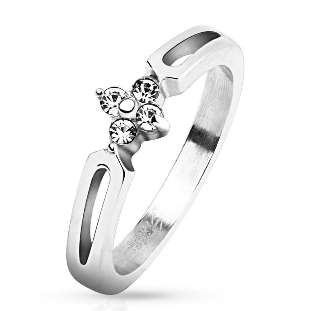 Ring flowers & crystals silver stainless steel ladies
