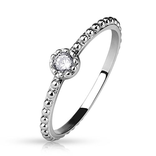 Ring crystal narrow silver made of stainless steel women
