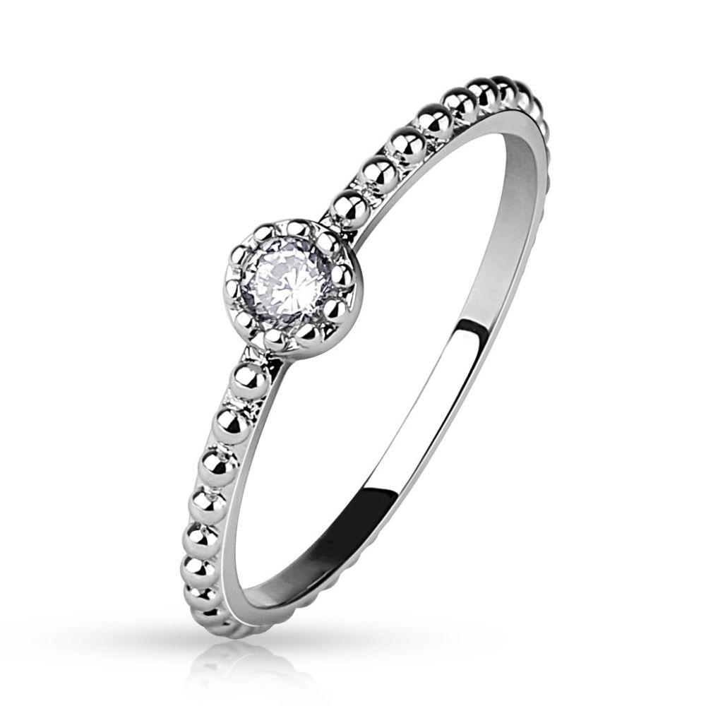 Ring Kristall schmal Silber aus Edelstahl Damen