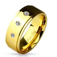 Ring with three crystals gold made of stainless steel men