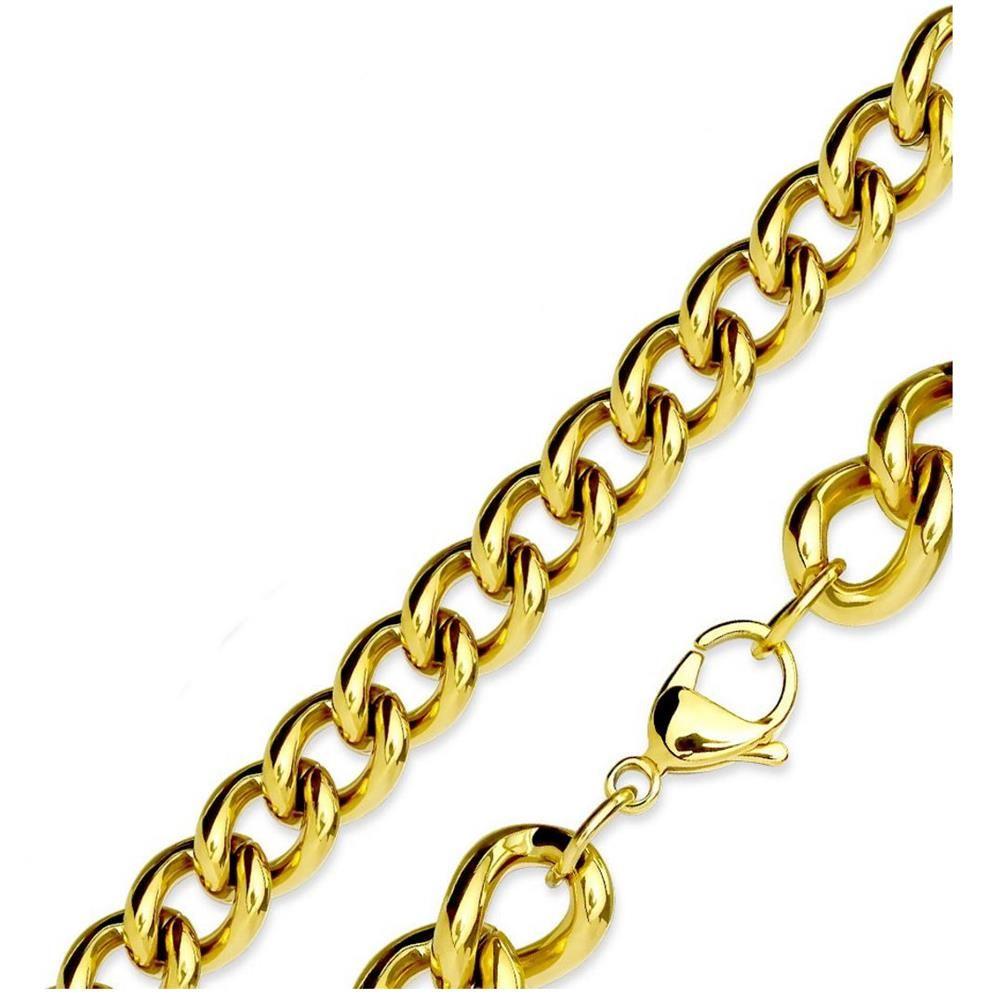 Königskette klassische Glieder Gold aus Edelstahl Unisex