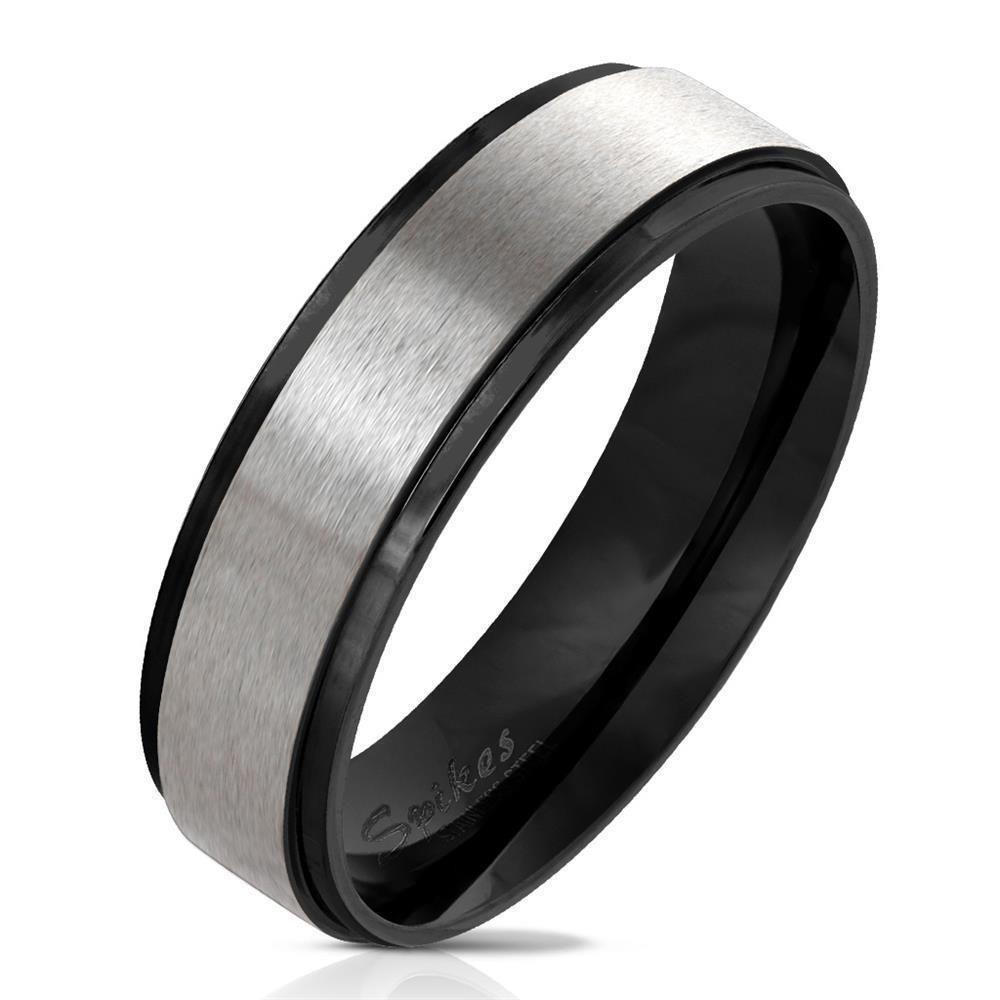 Ring Silber gebürstet mit schwarzen Außenringen