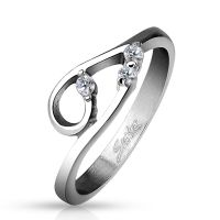 Ring domed silver stainless steel ladies