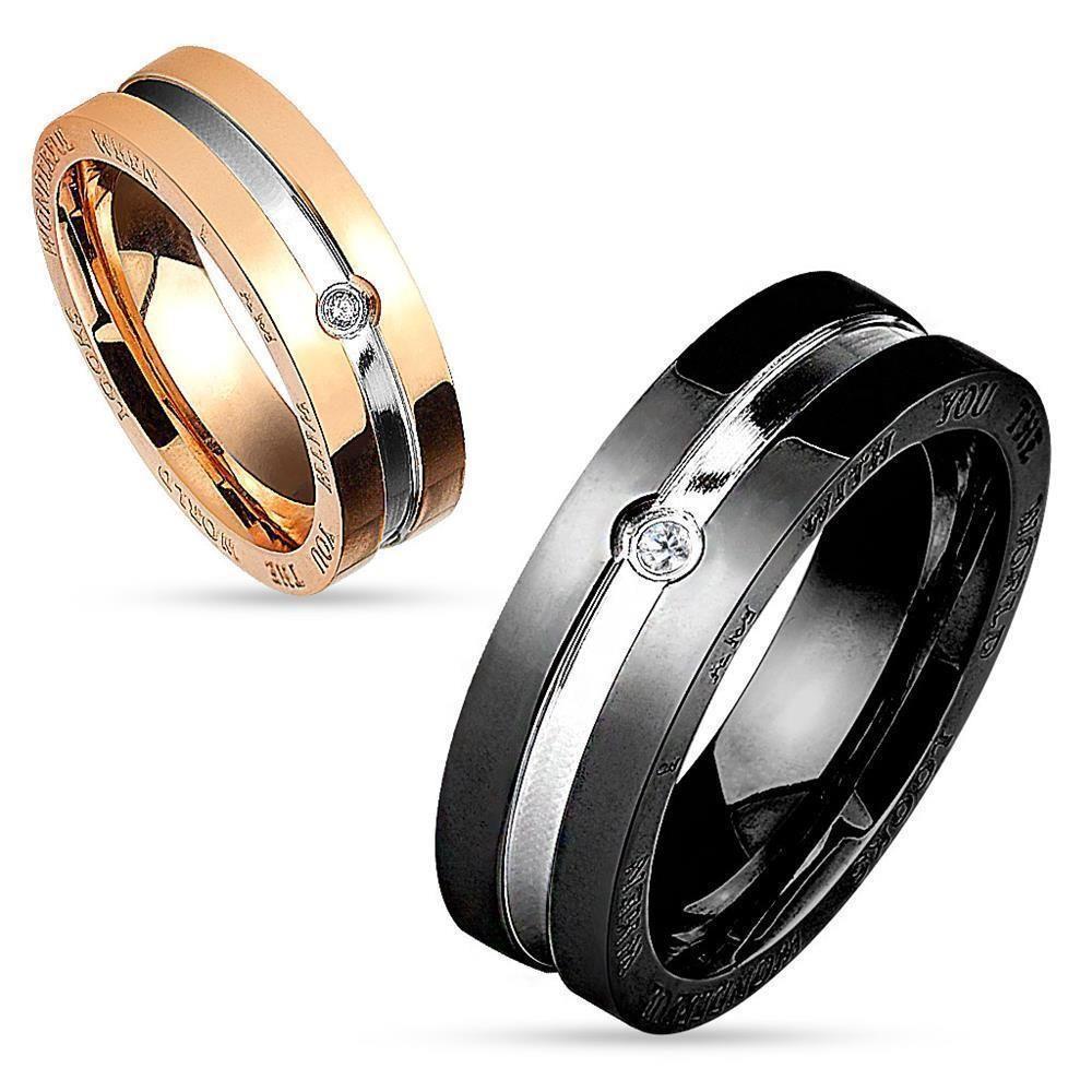 Ring zweifarbig Paare Schwarz aus Edelstahl Unisex