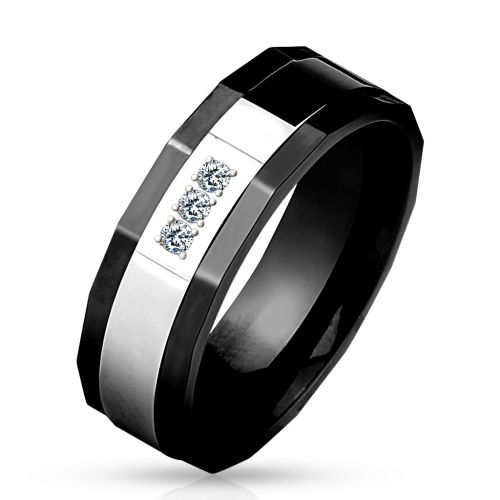 Ring crystal set black made of stainless steel unisex