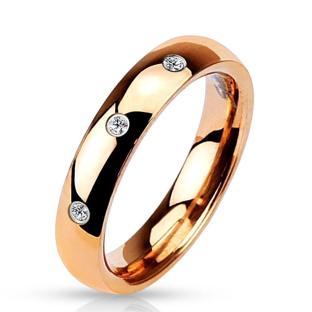 Ring 3 Kristalle Rosegold aus Edelstahl Damen