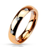 Ring 3 crystals rose gold stainless steel ladies