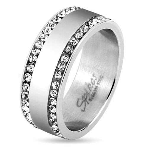 Ring 2 narrow crystals made of stainless steel unisex