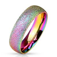 Ring Regenbogen sand-gestrahlt Bunt aus Edelstahl Unisex