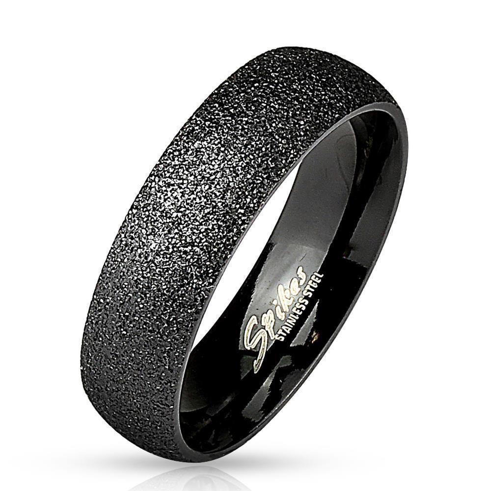 Ring sand-gestrahlt Schwarz aus Edelstahl Unisex